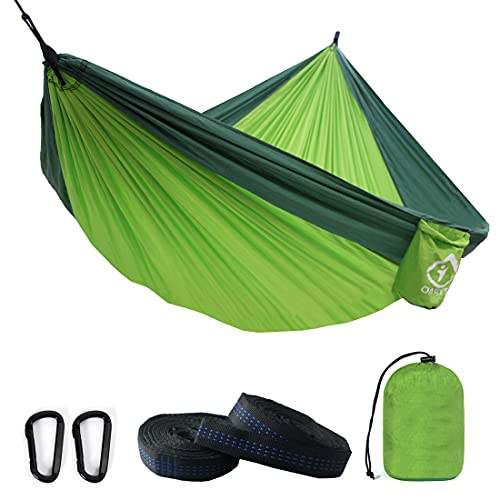 Camping Hammock Double with 2 Tree Straps Made of Portable Lightweight Nylon Parachute for...