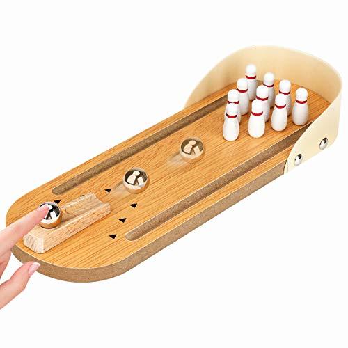 Desktop Bowling Mini Bowling Spiel Set mit 10 Pins Holz Tischplatte Bowling Spiel Indoor Bowling Set Desktop Bowling Spiele für Erwachsene & Kinder