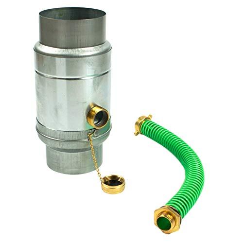 Zink Regenwassersammler 80 mm mit Schlauch- und Fassanschluss für das Fallrohr, Titanzink Regensammler 85% Wasser-Ertrag dank doppelwandigem Aufbau, Wassersammler für Regentonnen