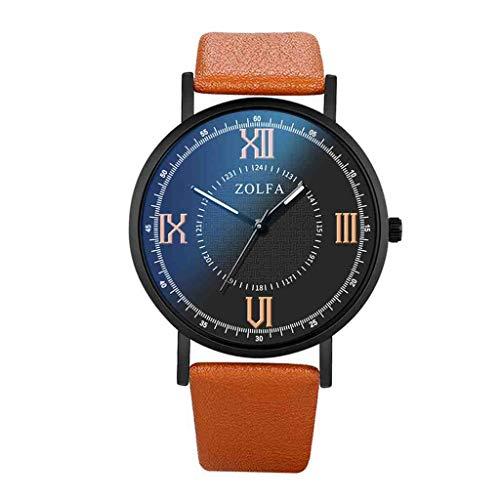 DECTN Reloj de Pulsera Reloj de Cuarzo para Hombre Moda Estilo Minimalista Escala Romana Cinturón de Cristal Azul Reloj Masculino Erkek KOL i, Marrón
