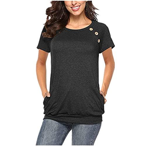 Camiseta Mujer Tops Mujer Verano Cómodo Suelto Cuello Redondo Manga Corta con Bolsillos Elegante Chic Dulce Vacaciones Casual Mujer Tops Mujer Blusa A-Black XXL