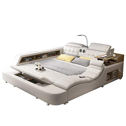 Cama tatami de masaje multifuncional del dormitorio principal moderno Cama doble 1.8 con cama de masaje inteligente, espacio de...