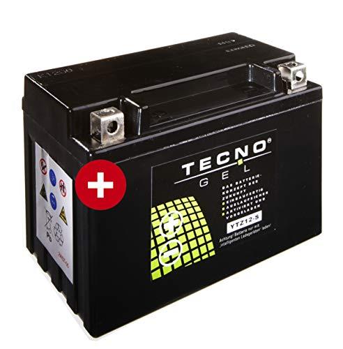 TECNO-GEL Motorrad-Batterie YTZ12-S, 12V Gel-Batterie 11 Ah (DIN 50901), 151x87x110 mm inkl. Pfand
