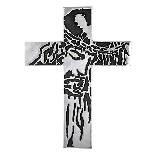 Decorative And Creative Wall Cross Metal Decorations - Large Religious Hanging Cross Wall Decor, Best For Home Decor and Gifting - Silver Nickel Finish Wall Art, Jesus Christ Design