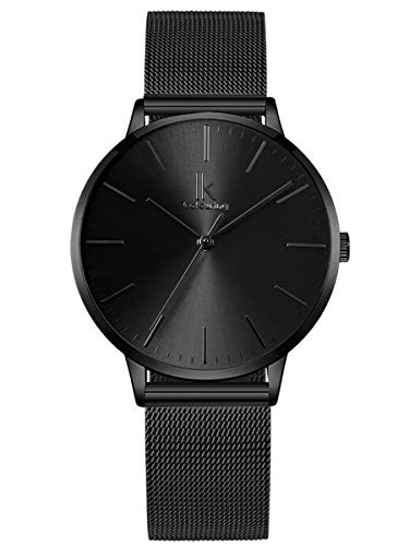 Alienwork Armbanduhr Damen schwarz Metall Mesh Armband Edelstahl Ultra-flach dünn
