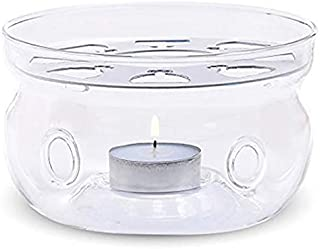 Teabloom Universal Tea Warmer (Large Size - 6 in / 15 cm diameter) - Handcrafted with Heat Proof & Lead-Free Glass - Tea Light Candle Included