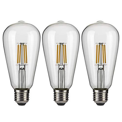 Vintage Edison Bombillas,EYLM Bombilla LED Vintage ST64 E27 4W 220V-230V, Blanco Cálido, Diseño Industrial para Iluminación Antigua Decoración,3 Piezas