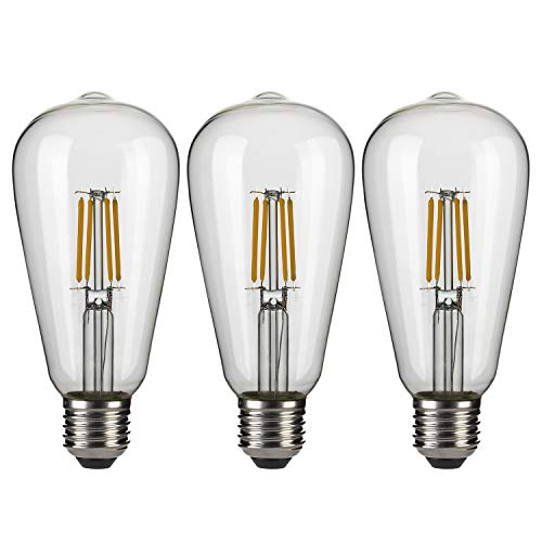 Edison Lampadina LED E27 Filamento Vintage Lampadina a Incandescenza 40W ST64 Luce Retro, Lampadina Stile Industriale, Bianco Caldo, Lampadina Decorativa 3 Pezzi[Classe di efficienza energetica A++]
