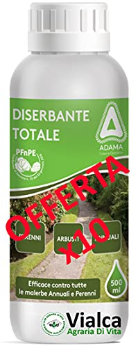 VIALCA SRL adama DISERBANTE Totale ERBICIDA GLIFOSATE SISTEMICO 5 Lt (10 x 500 ml)