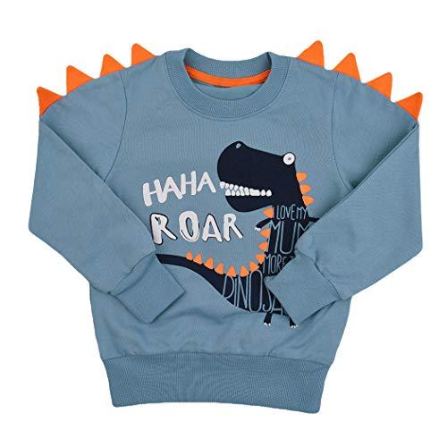 Tkria Boys Children's Sweatshirt Baby Cotton Pullover T-Shirt Top with Dinosaur/Crocodile 1-7 Years - Blue - 6 Years