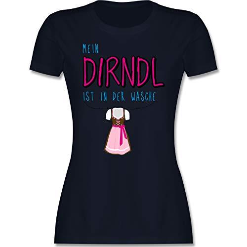 Oktoberfest & Wiesn Damen - Mein Dirndl ist in der Wäsche - XXL - Navy Blau - Shirt Dirndl in der wäsche - L191 - Tailliertes Tshirt für Damen und Frauen T-Shirt