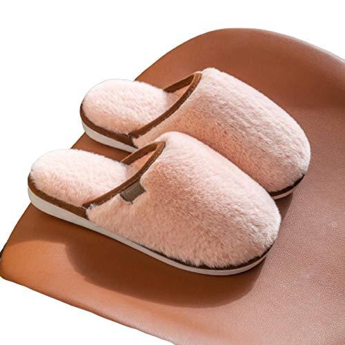 Y-PLAND Zapatillas de algodón de Felpa de Color Puro, Zapatillas de algodón de Pareja de Piso Interior para Mujer, Zapatillas de algodón de Primavera, otoño e Invierno-Rosado_EU40-41