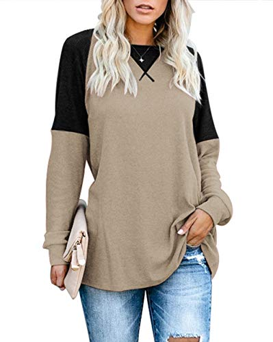Sarin Mathews Womens Long Sleeve Tops Casual Shirts Round Neck Color Block Loose Fit Tunic Tops for Leggings Wheat L