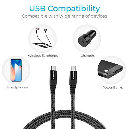 Ambrane Unbreakable 3A Fast Charging Braided Type C to Type C Cable – 1.5 Meter (RCTT15, Black)