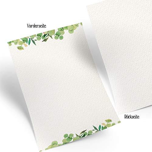 Logbuch-Verlag 25 Blatt Schreibpapier DIN A4 grün weiß aquarell Blätter - Briefpapier Designpapier für Menükarten Einladungen Briefe