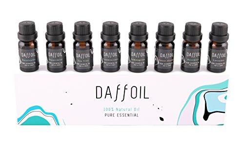 Huiles essentielles aromathérapie, humidificateur, thérapeutique, lot de 8 huiles 100% pures (lavande, arbre à thé, citronnelle, menthe, eucalyptus, encens, romarin, orange douce).