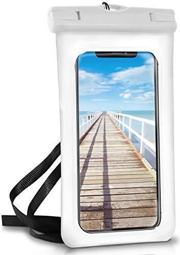 ONEFLOW® wasserdichte Handy-Hülle für alle Apple iPhone | Touch- & Kamera-Fenster + Armband und Schlaufe zum Umhängen, Weiß (Pear-White)