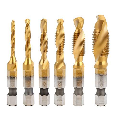 HSEAMALL 6PCS HSS Countersink Tap Drill Bit Set, 1/4 inch Hex Shank M3-M10 Combination Screw Thread Metric Tap Drill
