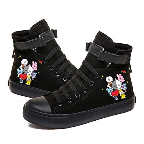 RJBTS shoes HJJ Zapatos BTS BTS Zapatos más nuevos de la impresión Lona KPOP Estilo de Hip-Hop Lace Up Casual Formadores Tobillo Botas for niño y niñas Estrellas BTS (Color : Black, Size : 44)