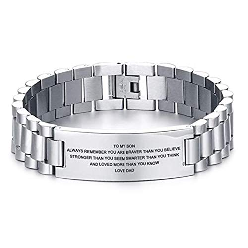 ERHETUS Men's Fashion Bracelets,To My Son Engraved on One Side Bracelet Letters Engraved Titanium Steel Wristband