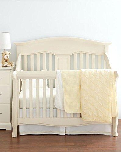 Little by Hudson Park Percale Baby Crib Skirt, White & Sunshine Yellow