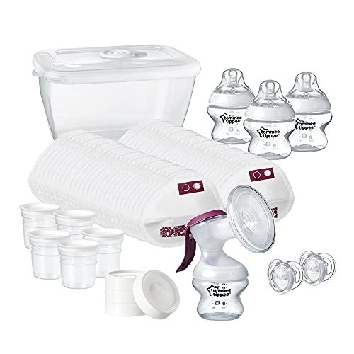 Tommee Tippee 42356861 - Sacaleches, Kit de inicio de lactancia: extractor de leche manual y accesorios para lactancia