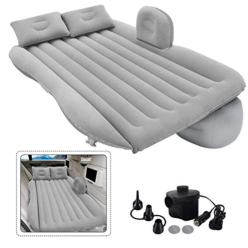 ADA PVC Fabric Multifunctional Car Inflatable Bed Portable Camping Air Mattress with 2 Air Pillows for Universal SUV, Fits Most Car Models (Black/Cream/Grey/Blue)