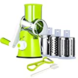 Ourokhome Manual Cheese Rotary Grater - Round Mandoline Slicer Shredder with 3 Inner Adjustable...