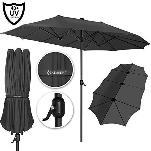 Kesser® Sonnenschirm Doppelsonnenschirm | Gartenschirm | Marktschirm | Terrassenschirm mit Handkurbel | Oval | Aluminium | UV-beständig | wasserabweisenden | Grau