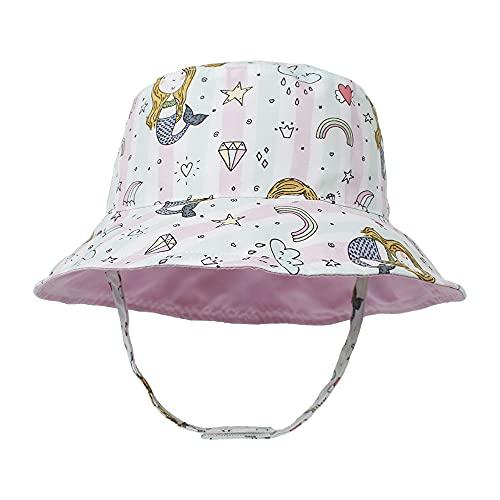 Sombrero para el Sol para niños pequeños Sombrero de Cubo de Verano para bebés de ala Ancha UPF50 Gorra Rosa de Doble Cara con Estampado de Sirena para bebés, niños, niñas, niños de 6-24 Meses