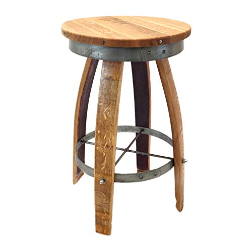 Central Coast Creations Swivel Top Bar Stool - Wine Barrel Handcrafted Wine Barrel Furniture (30' Sit Height)