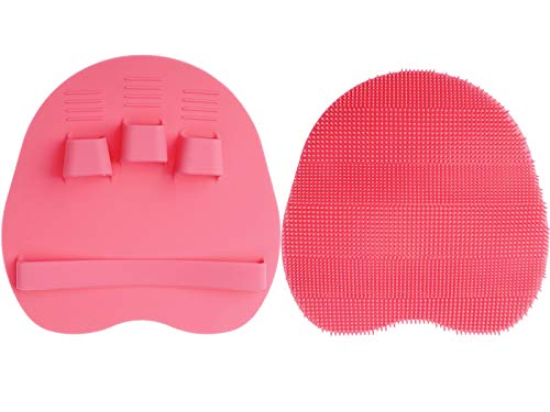 1 Packung reines Silikon Körperbürste Duschreinigung Scrubber Sanfte Peeling-Handschuh Weiche Borsten (Rosa)