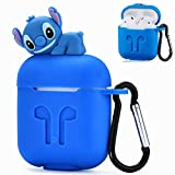 Logee Stitch Case for Apple Airpods Charging Case,Cute Silicone 3D Cartoon Airpod Cover,Soft Protective Accessories Kits Skin with Carabiner,Character Cases for Kids Teens Girls Guys (Airpods)