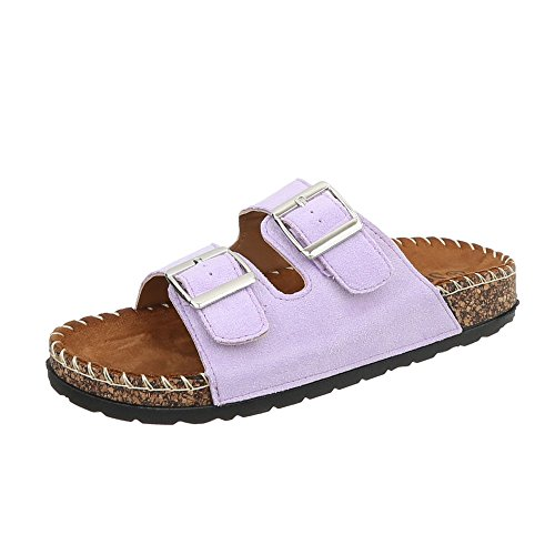 Ital-Design Pantoletten Damen-Schuhe Sandalen & Sandaletten Lila, Gr 37, Ck01-