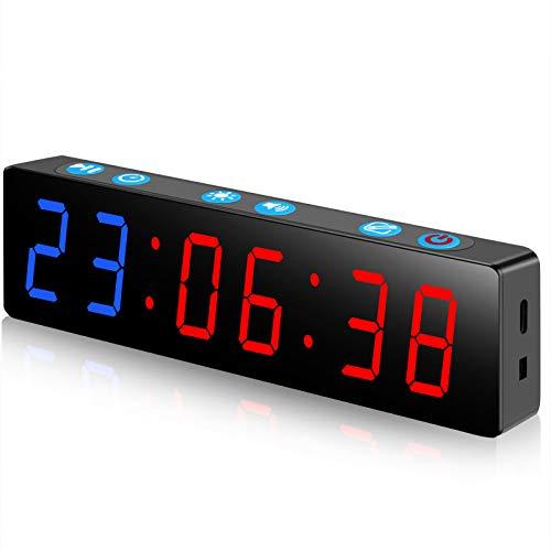 PELLOR Temporizador con Pantalla LED, Mini Portátil Dígitos LED Temporizador de Intervalos, Reloj en Tiempo Real de 12/24 Horas, Gym Temporizador, Brillo y Volumen Ajustable