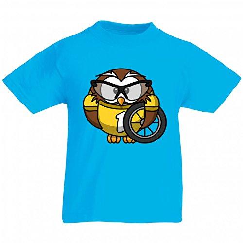 Camiseta con diseño de búho, animales, bicicleta, pájaros, ciclistas, divertidas, vasos, ciclismo, carreras, ciclismo, deporte, rápido para hombre, mujer, niños, 104 – 5 XL azul Para Hombre Talla : X-Large