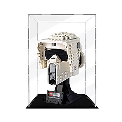 icuanuty Vitrina Acrílica Funda Protectora A Prueba De Polvo Compatible con Lego 75305 Star Wars Scout Trooper Casco De -3 mm De Grosor (Modelo Lego No Incluido)