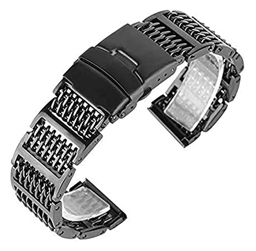 WSYGHP Correas de reloj de acero inoxidable de 20/22/24 mm, plateado/negro/dorado, cierre plegable de reloj + 2 correas de resorte para reloj de pulsera (color: negro, tamaño: 24 mm)