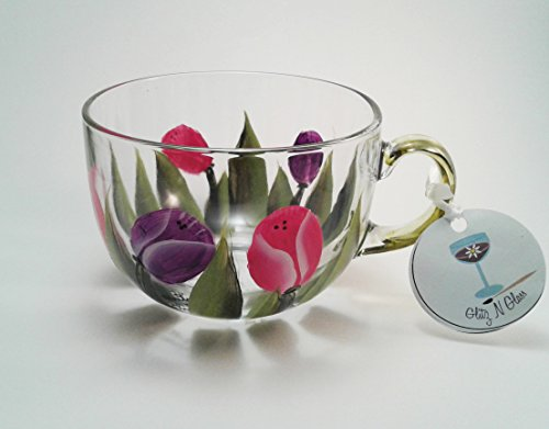 Hand Painted Glass Tea Cup With Pink and Purple Tulips