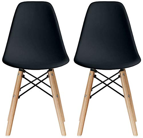 2xhome - Kids Size Plastic Toddler Chairs with Natural Wooden Dowel Legs (Set of 2) (Black)