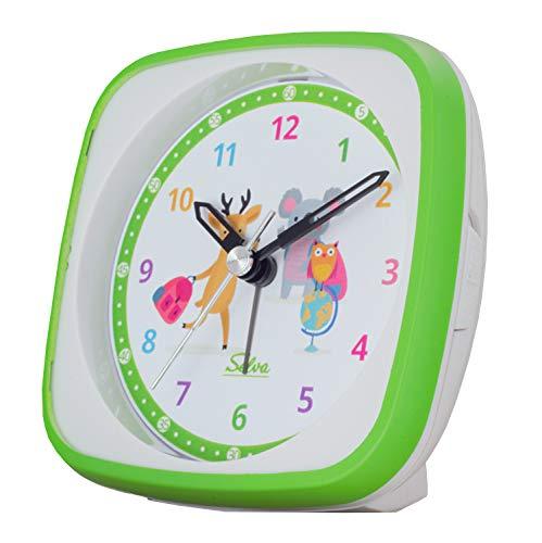 SELVA Quarzwecker für die Einschulung mit REH, Koala und Eule Motiv grün/Weiss. Schleichende Sekunde lautlos, analog, für Kinder, buntes lern Zifferblatt mit Licht / Weckwiederholung