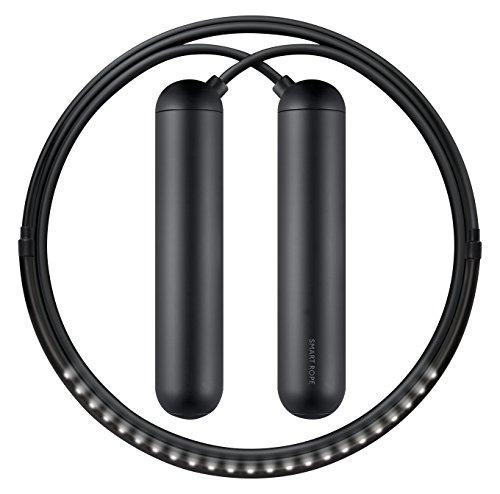 Tangram Factory Smart Rope Springseil, eingebaute LEDs zeigen Umdrehungen an: medium, schwarz, TG1001BM