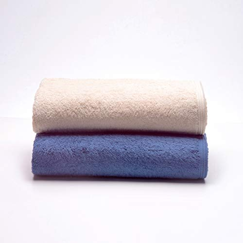 Sancarlos Ocean, Juego de 2 Toallas de Baño Combinadas, Color Beige y Azul Oscuro, Tamaño 100x150 cm