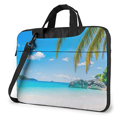 Laptop Bag Satchel Tablet,Tropical Tree Beach Notebook Computer Case Briefcase,Laptop Shoulder Bag For Business Casual or School With Shoulder Straps & Handle