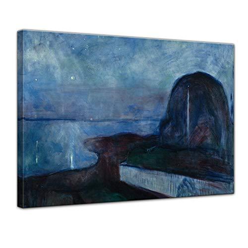 Wandbild Edvard Munch Starry Night Sternennacht - 80x60cm quer - Alte Meister Berühmte Gemälde Leinwandbild Kunstdruck Bild auf Leinwand