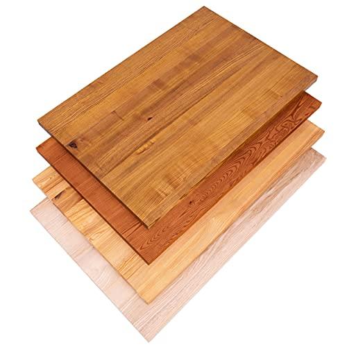 LAMO Manufaktur Tischplatte Massivholz für Schreibtisch, Esstisch, Holzplatte 120x80 cm,...