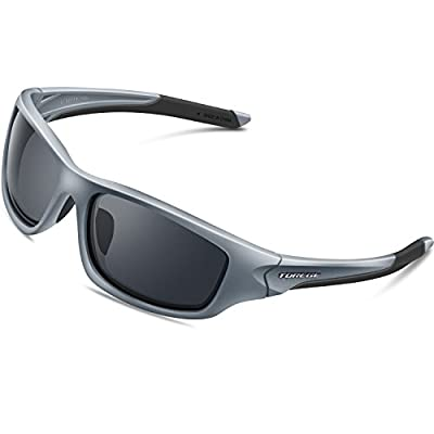 TOREGE Polarized Sports Sunglasses for Man Women Cycling Running Fishing Golf TR90 Unbreakable Frame TR011 (Gray&Black Tips&Gray Lens)