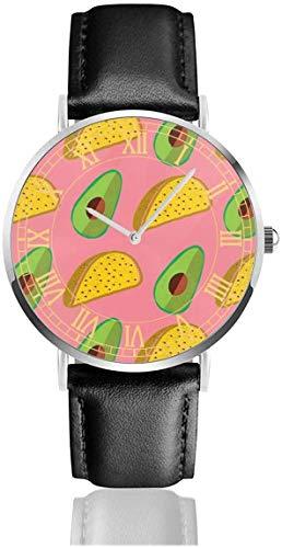 Uhr Avocado Brot Armbanduhren Quarz Edelstahl und PU Leder für Unisex