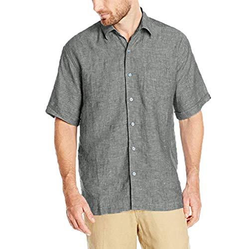 Zolimx Herren Hemd Kurzarm Langarm Leinenhemd aus Baumwollmischung Sommer Freizeit, Männer Sommer New Style Fashion Pure Baumwolle und Hanf...