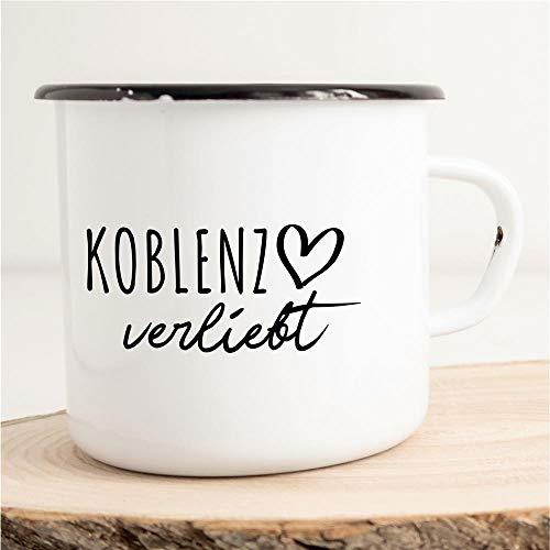 HELLWEG DRUCKEREI Emaille Tasse Koblenz Verliebt Geschenk Idee für Frauen und Männer 300ml Retro Vintage Kaffee-Becher Weiß mit Stadt Namen für Freunde und Kollegen